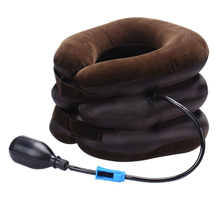Inflatable neck massager for neck pain / traction device