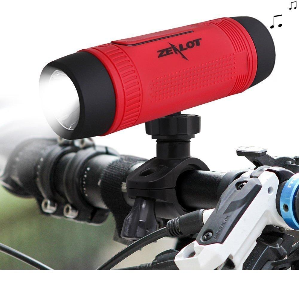Mini Bluetooth Speaker with FM Radio and Bike Support.  Doubles as flashlight + Power Bank + Memory slot