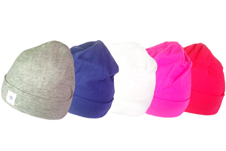 Ear Buddies Hats for Infants | Grey, Blue, White, Pink.