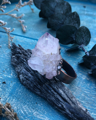 Amethyst Cluster Statement Ring - Size 10 - Serpent + Sage