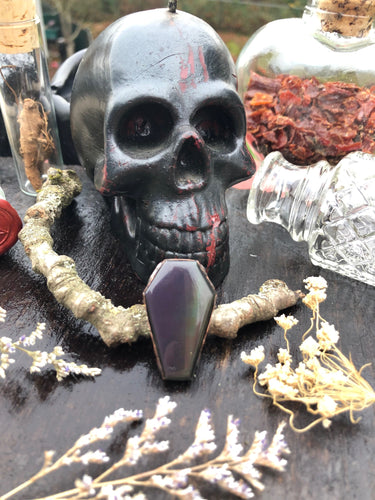 Rainbow Obsidian Coffin Ring | Size 8 - Serpent + Sage