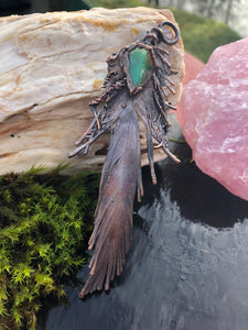 Real Feather with Chrysocolla - Serpent + Sage