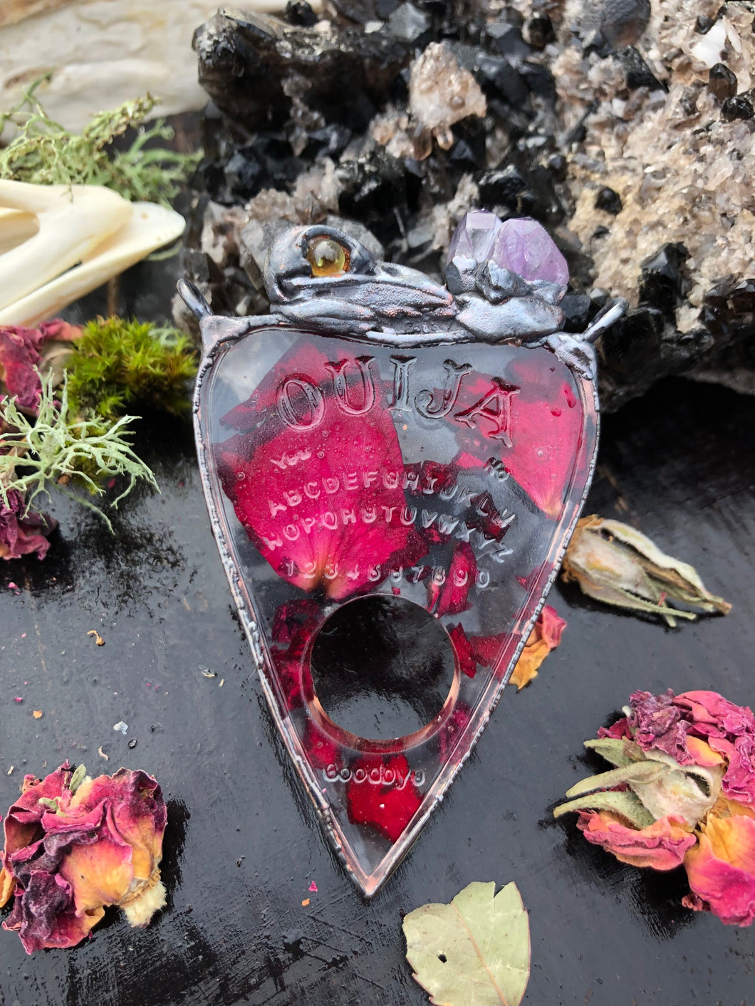 Rose Planchette with Skull and Amethyst - Serpent + Sage