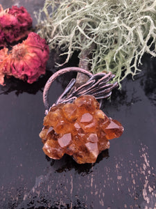 Citrine Crystal Cluster with Real Lavender Leaves - Serpent + Sage