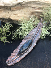 Load image into Gallery viewer, Pietersite Feather Pendant - Serpent + Sage
