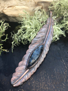 Pietersite Feather Pendant - Serpent + Sage