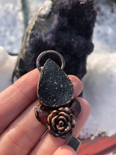 Load image into Gallery viewer, Black Druzy & Garnet Rose Pendant - Serpent + Sage
