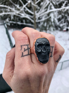 Hematite Skull Unisex Statement Ring | Size 8 - Serpent + Sage