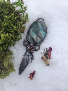 Labradorite Dreamcatcher Pendant | Real Feather - Serpent + Sage