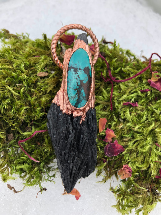 Black Kyanite and Turquoise - Serpent + Sage