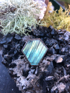 Labradorite Coffin Statement Ring | Size 7 - Serpent + Sage
