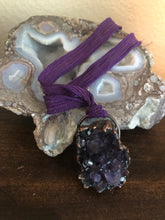 Load image into Gallery viewer, Amethyst Crystal Cluster Pendant - Serpent + Sage