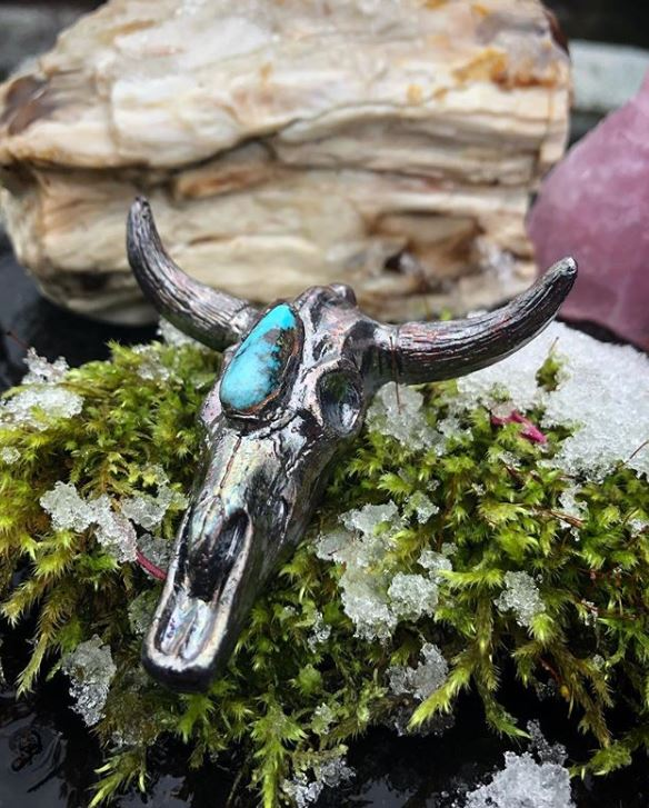 Bull Skull and Turquoise Pendant - Serpent + Sage