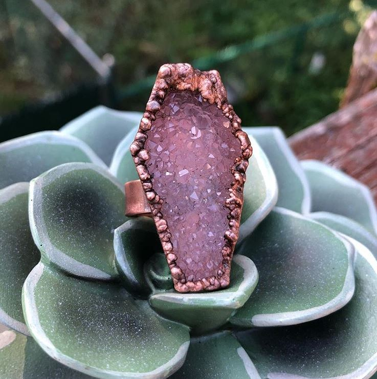 Amethyst Druzy Coffin Statement Ring - Serpent + Sage