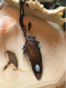 Real Electroformed Feather with Opal - Serpent + Sage
