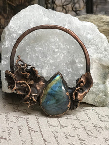 Flashy Labradorite and Moss Pendant - Serpent + Sage