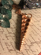 Load image into Gallery viewer, Seashell Electroformed Copper Necklace | Sliced Terebra Turritella Shell - Serpent + Sage