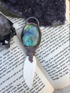The Dreamcatcher | Labradorite and Carved Bone Feather - Serpent + Sage