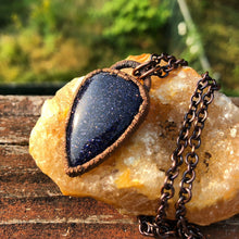 Load image into Gallery viewer, Blue Goldstone Electroformed Pendant | Galaxy Necklace - Serpent + Sage