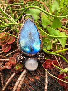 Labradorite Teardrop with Pink Agate and Roses - Serpent + Sage
