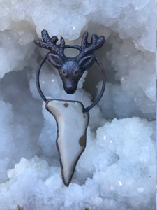 Electroformed Deer Amulet with Polka Dot Agate - Serpent + Sage