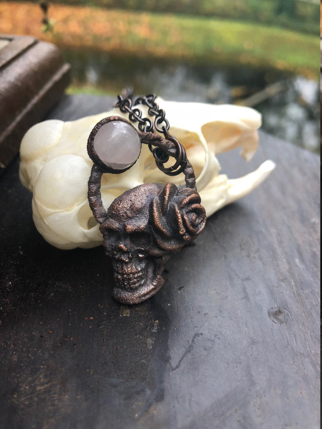 Skull Pendant with Rose and Peach Moonstone - Serpent + Sage