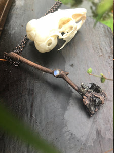 Witches Broomstick | Real Tree Branch | Smokey Quartz Cluster | Moonstone Jewelry - Serpent + Sage