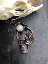 Load image into Gallery viewer, Skull Pendant with Rose and Peach Moonstone - Serpent + Sage