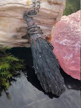 Load image into Gallery viewer, Black Kyanite & Cedar Necklace | Black Crystal Jewelry - Serpent + Sage