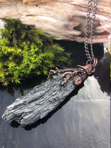 Black Kyanite & Cedar Necklace | Black Crystal Jewelry - Serpent + Sage