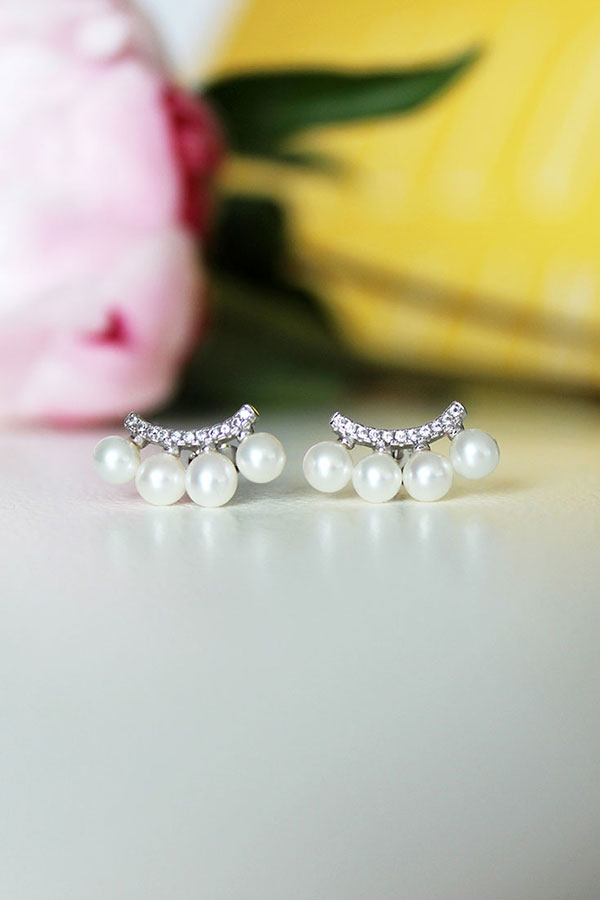 Ear Jackets Pearl Cuff Earrings