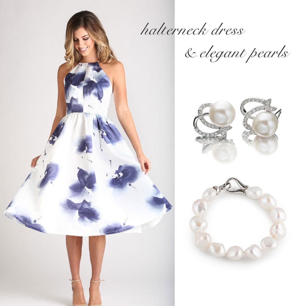 halterneck dress with elegant pearls