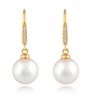 Bella 18ct Gold Vermeil Pearl Drop Earrings