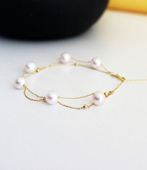 18ct Yellow Gold Pearl Bracelet