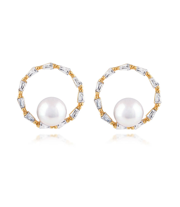 18ct Gold Vermeil Halo Pearl Earrings