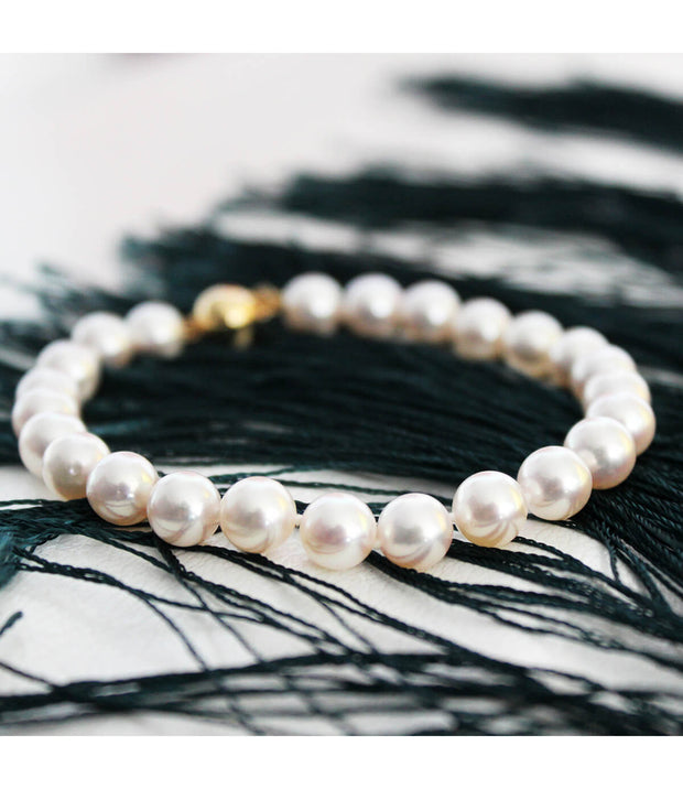 18k Yellow Gold Pearl Bracelet Finest Quality Akoya