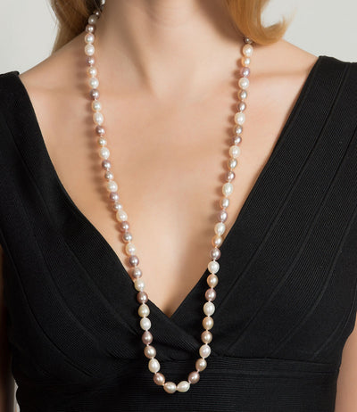 Athena Multicolor Long Pearl Necklace Freshwater Oval
