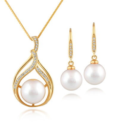 Bella 18k Yellow Gold Vermeil Pearl Pendant Necklace and Earrings Set with Sparkling White Zirconia
