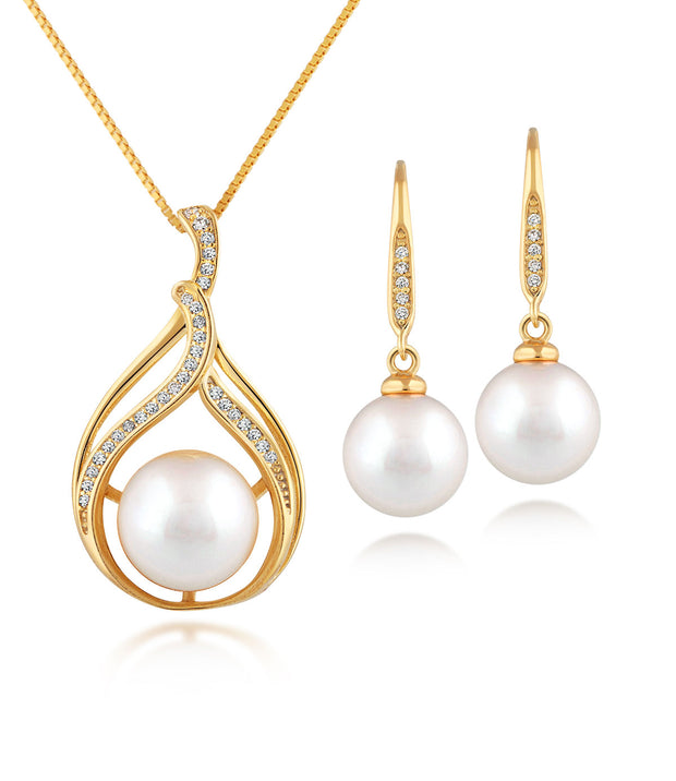 Bella 18ct Gold Vermeil Pearl Necklace and Earrings Set