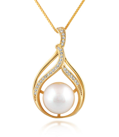 Bella 18ct Gold Vermeil Pearl Pendant Necklace