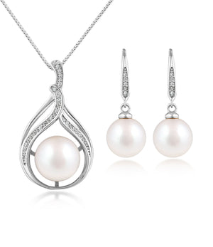 Bella Pearl Pendant Necklace and Earrings Set