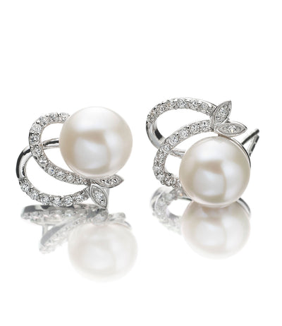 Callista Pearl Stud Earrings in Sterling Silver with Rhodium Plating and Cubic Zirconia
