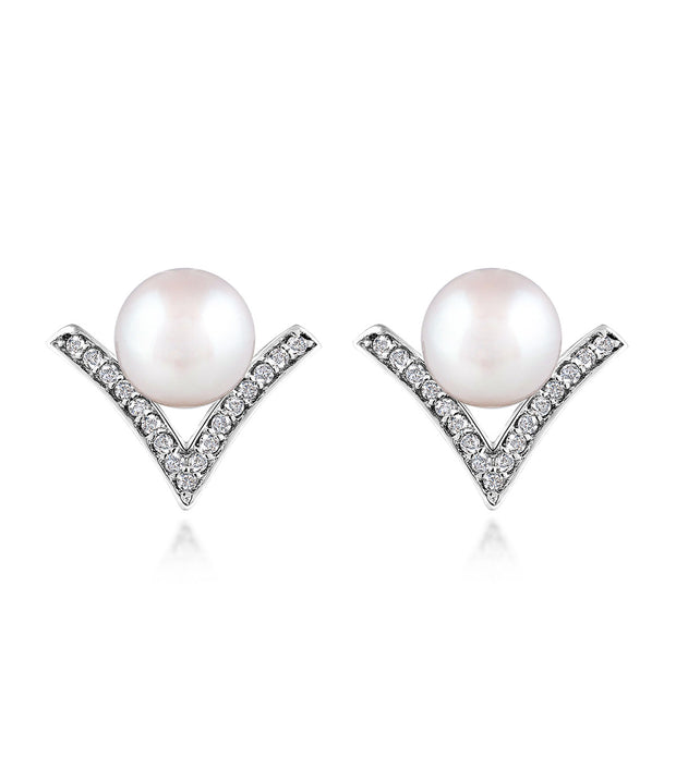 Dew Drop Pearl Stud Earrings in Rhodium Plated Sterling Silver with Cubic Zirconia