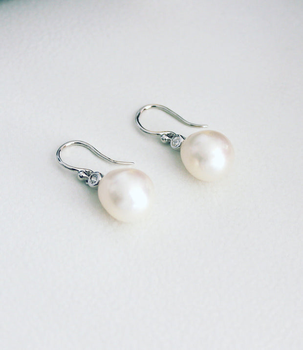 Pearl Drop Earrings Rhodium Plated Sterling Silver Hook Freshwater