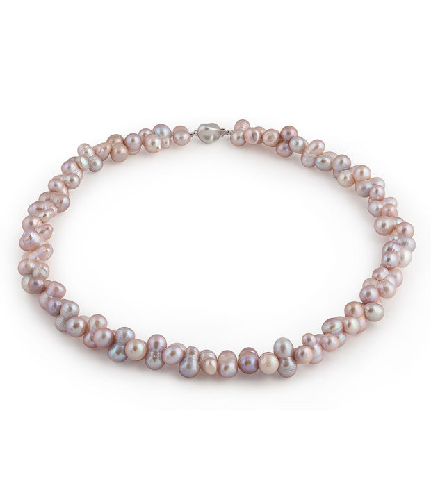 Pink Baroque Freshwater Pearl Necklace Unique Sterling Silver Clasp