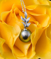 Flora Pistachio Tahitian Pearl & Diamond Necklace