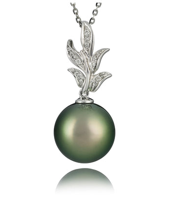 Flora tahitian pearl diamond necklace pearl lang flora tahitian pearl diamond necklace aloadofball Image collections