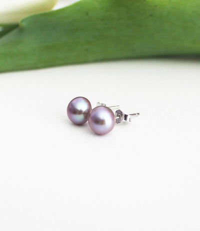 Pink Pearl Earrings Sterling Silver