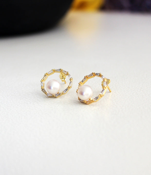 halo pearl stud earrings 18k yellow gold vermeil_3