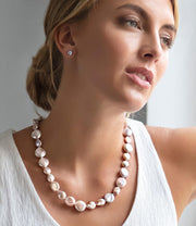 Pink Pearl Necklace Rhodium Plated Sterling Silver Clasp